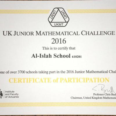 UK Junior Mathematical Challenge.
