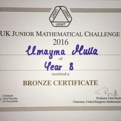 UK Junior Mathematical Challenge. Bronze awarded to Umayma Mulla in Year 8.